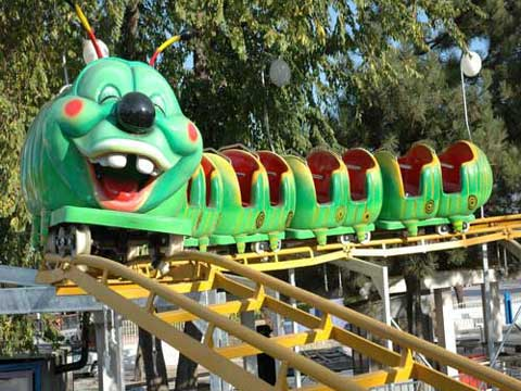 Green Worm Slide Small Roller Coaster Ride